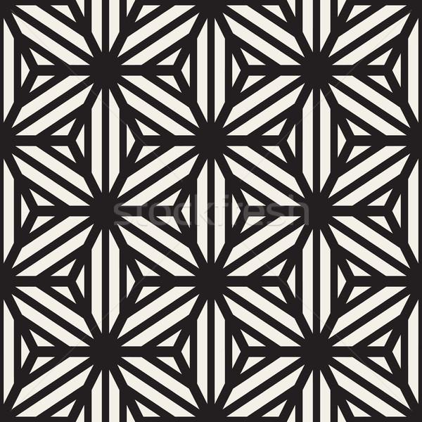 Vetor sem costura linha grade padrão geométrico estrela Foto stock © Samolevsky
