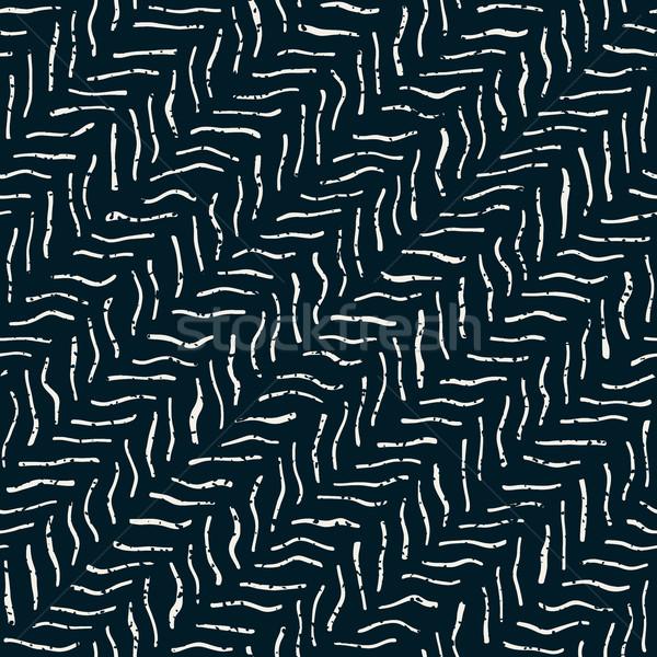 Vector naadloos donkere vervormd lijnen Stockfoto © Samolevsky