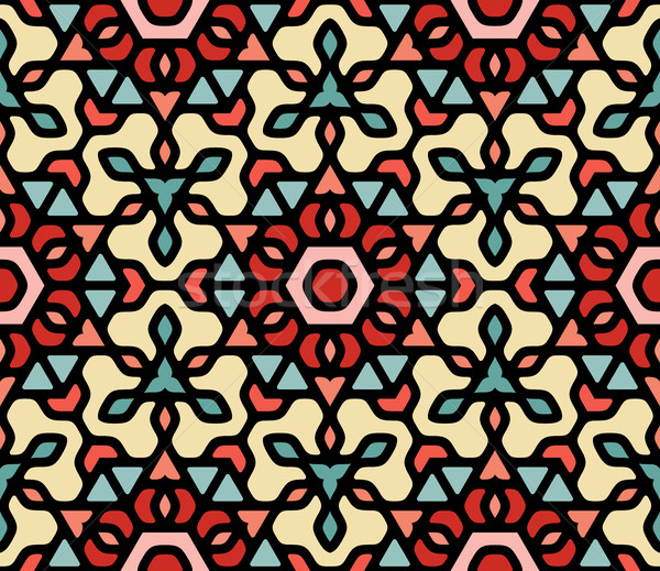 Vector Seamless Colorful Rounded Floral Oriental Hexagonal Mandala Pattern Stock photo © Samolevsky