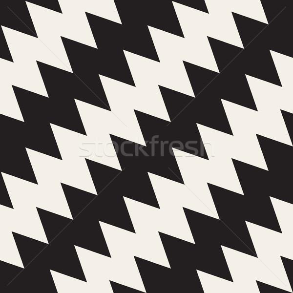 Vector naadloos zwart wit zigzag diagonaal lijnen Stockfoto © Samolevsky