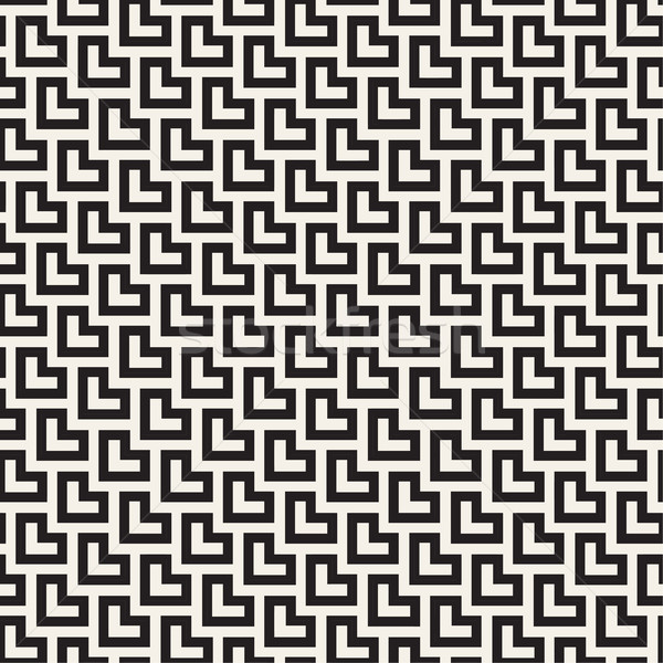 Maze Tangled Lines Contemporary Graphic. Vector Seamless Black and White Pattern. Stock photo © Samolevsky