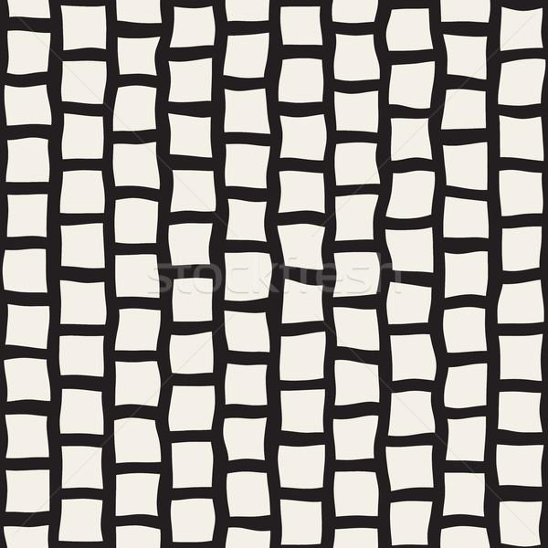 Wektora bezszwowy czarno białe prostokąt bruk Zdjęcia stock © Samolevsky