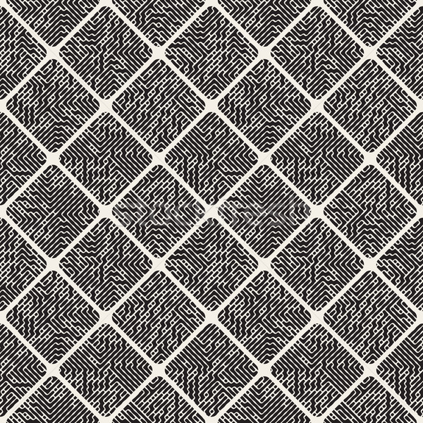 Vector Seamless Rounded Rhombus Pavement Fillesd With Maze Lines Pattern Stock photo © Samolevsky