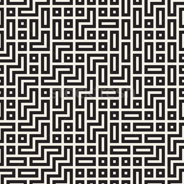 迷路 行 ベクトル シームレス 黒白 パターン ストックフォト © Samolevsky