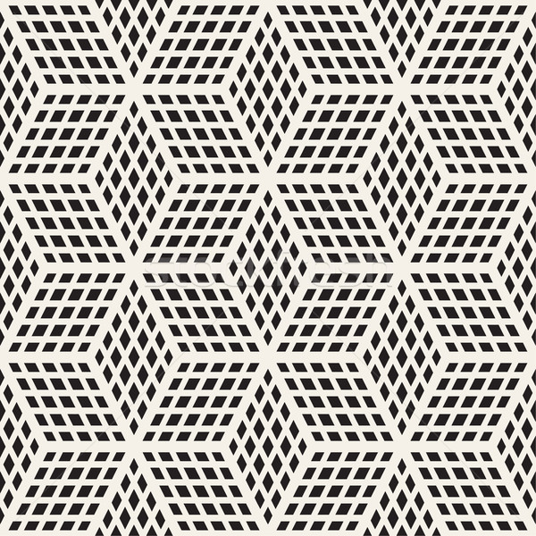 Cubic Grid Tiling Endless Stylish Texture  Vector Seamless Black and