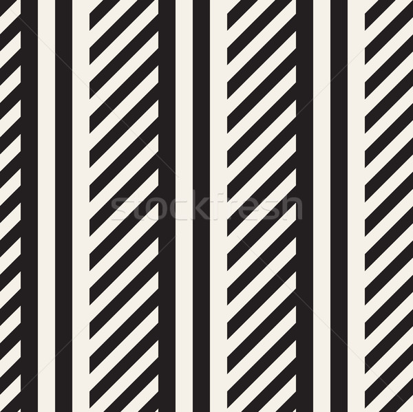 Interlacing Parallel  Stripes. Vector Seamless Monochrome Pattern. Stock photo © Samolevsky