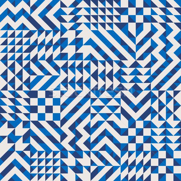Vektor végtelenített mértani kockák minta kék Stock fotó © Samolevsky