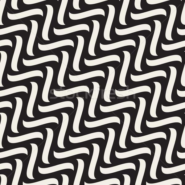 вектора бесшовный черно белые рисованной диагональ волнистый Сток-фото © Samolevsky