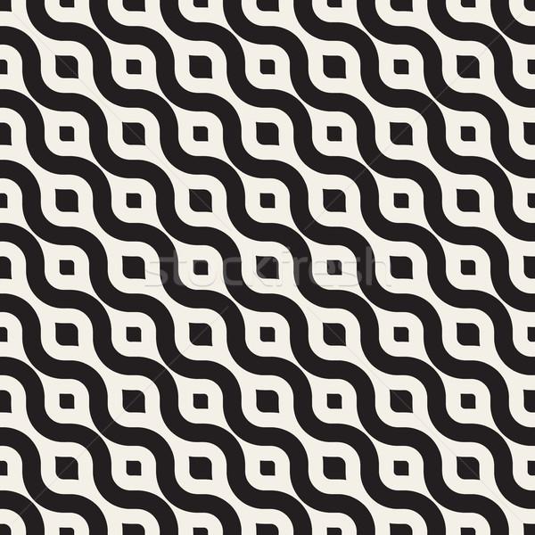 Vektör siyah beyaz diyagonal dalgalı hatları Stok fotoğraf © Samolevsky