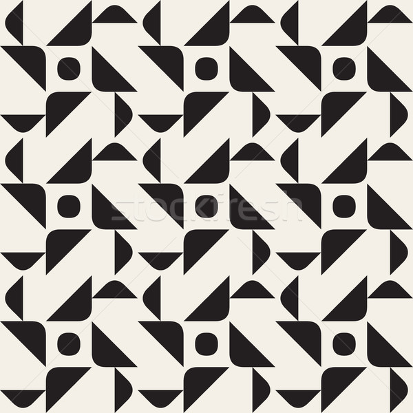 Wektora bezszwowy czarno białe geometryczny wzór streszczenie tekstury Zdjęcia stock © Samolevsky