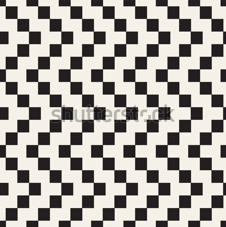 Halftone Edgy Lines Mosaic Endless Stylish Texture. Vector Seamless Black and White Pattern Stock photo © Samolevsky