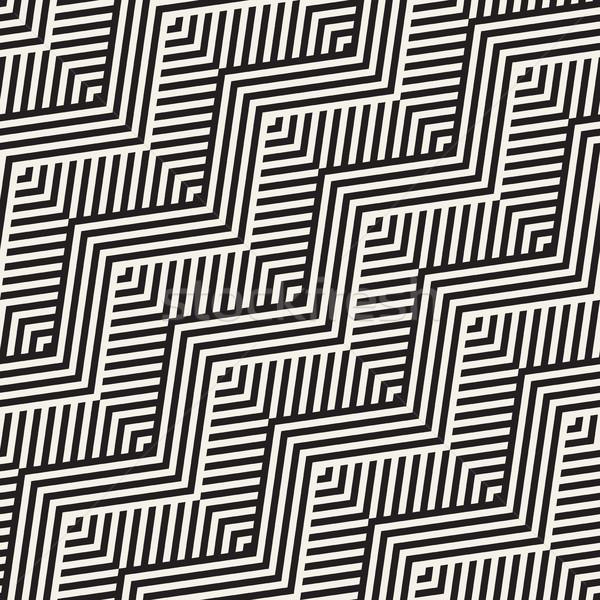 Absztrakt cikcakk párhuzamos csíkok vektor végtelen minta Stock fotó © Samolevsky