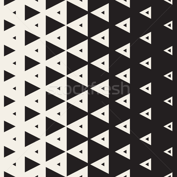 Vector Seamless Black and White Vertical Triangle Halftone Pattern Stock photo © Samolevsky