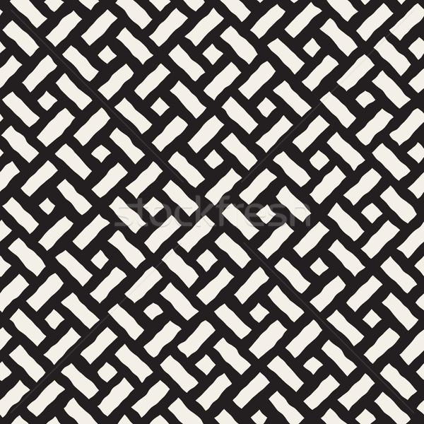 Wektora bezszwowy przekątna bruk wzór czarno białe Zdjęcia stock © Samolevsky