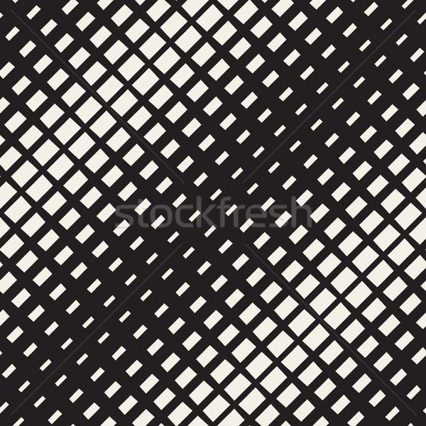 Vektör siyah beyaz diyagonal yarım ton model Stok fotoğraf © Samolevsky