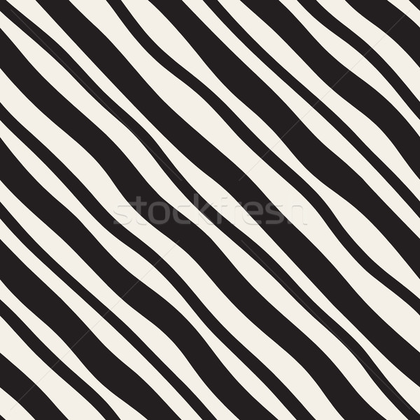 Vector Seamless Black and White Hand Drawn Diagonal Lines Pattern Stock photo © Samolevsky