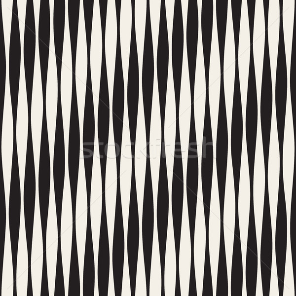 Vector Seamless Black and White Vertical Wavy Lines Pattern Stock photo © Samolevsky
