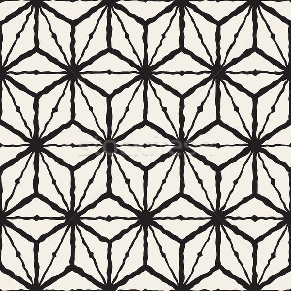 Vector Seamless Hand Painted Line Geometric  Rhombus Grid Pattern Stock photo © Samolevsky