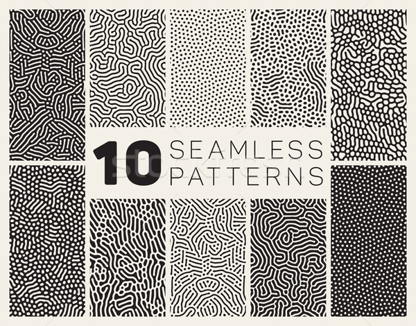 Vector Seamless Organic Rounded Jumble Maze Lines Patterns Stock photo © Samolevsky