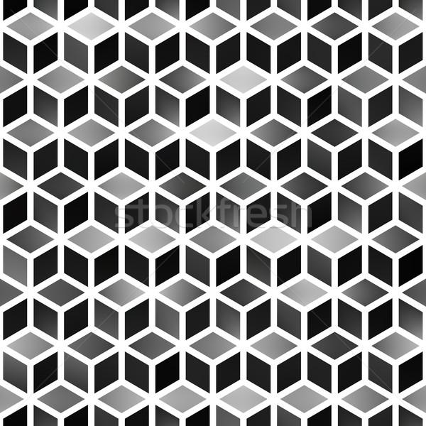 Vector Seamless Gradient Cube Shape Rhombus Grid Geometric Pattern Stock photo © Samolevsky