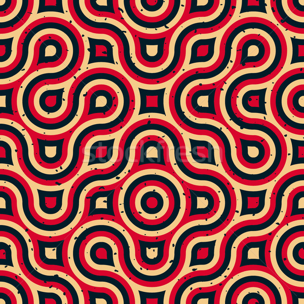 Vector Seamless Wavy Lines Irregular Retro Grungy Blue Red Tan Pattern Stock photo © Samolevsky