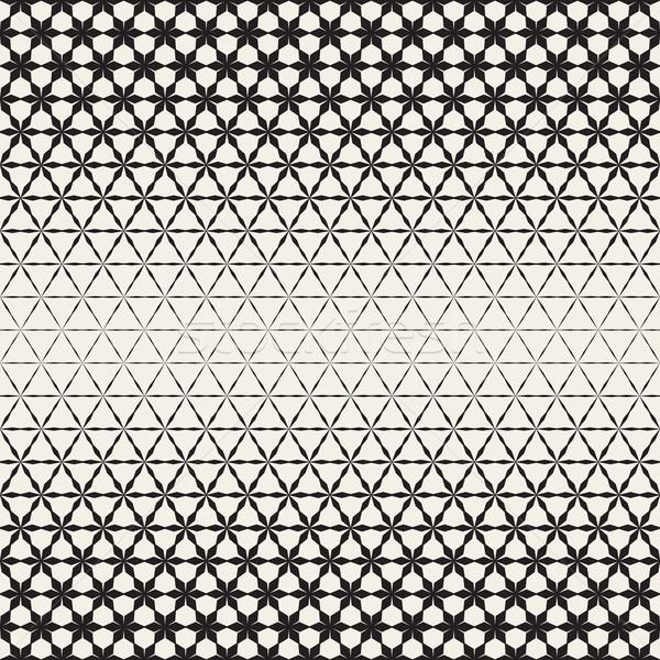 Triangular Star Shapes Halftone Lattice. Vector Seamless Black and White Pattern. Stock photo © Samolevsky