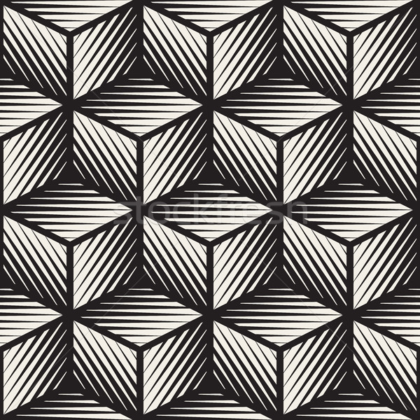 Vector Seamless Black And White Cube Shape Lines Engravement Geometric Pattern Stock photo © Samolevsky