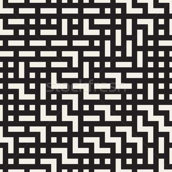 Irregular Maze Lines. Vector Seamless Black and White Pattern. Stock photo © Samolevsky