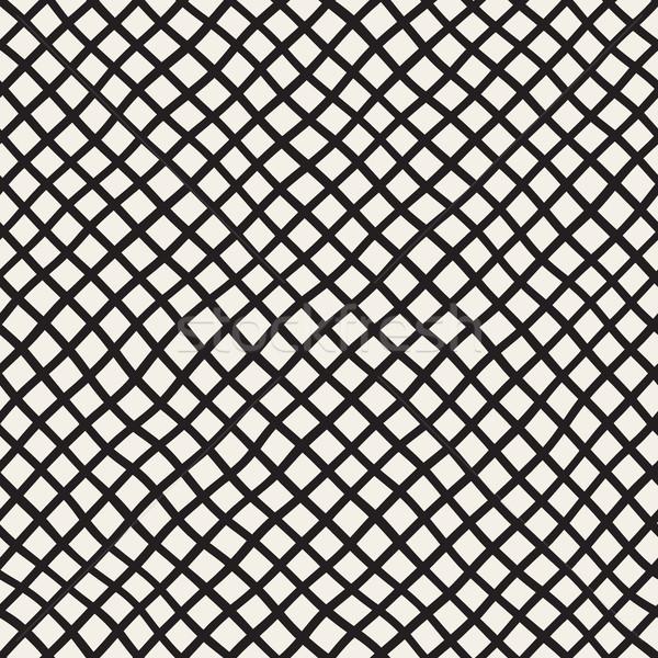 Hand Drawn Line Lattice. Vector Seamless Black and White Pattern. Stock photo © Samolevsky