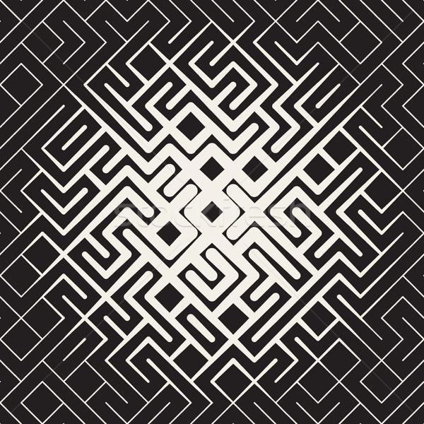 Vector Seamless Rounded Line Maze Irregular Pattern Halftone Circular Gradient Stock photo © Samolevsky