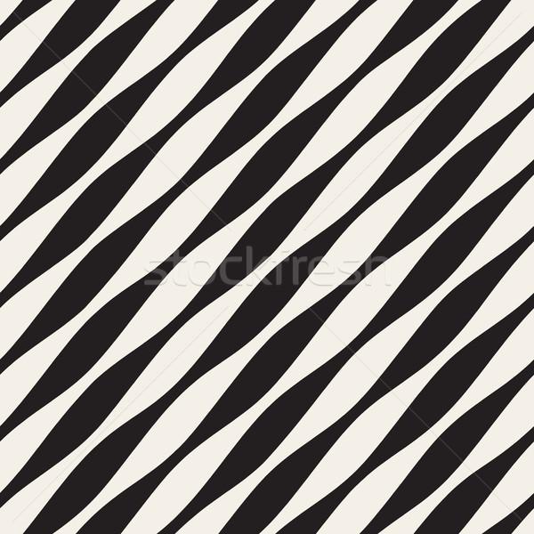 Vettore senza soluzione di continuità bianco nero diagonale ondulato linee Foto d'archivio © Samolevsky