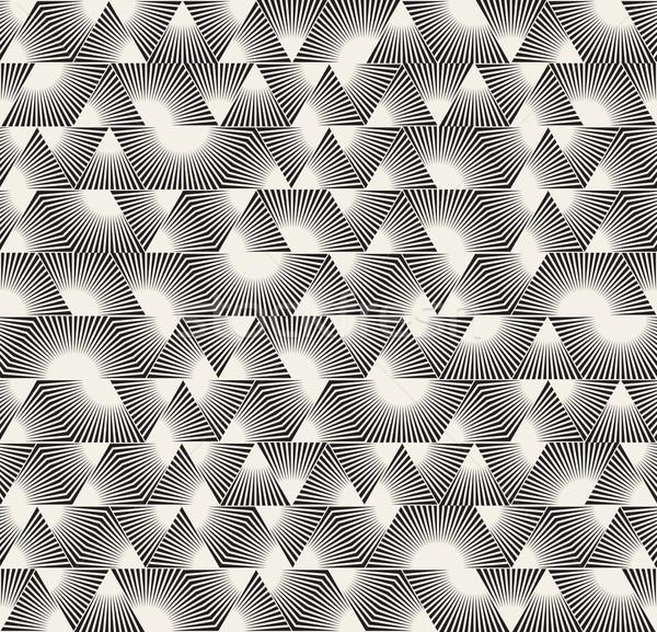 Vector Seamless Black and White Triangle Sunburst Lines Irregular Pattern Stock photo © Samolevsky