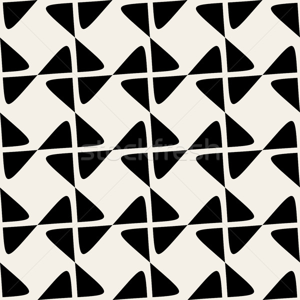 Seamless Black White Vector Geometric Rhombus Line Checker Pattern  Stock photo © Samolevsky