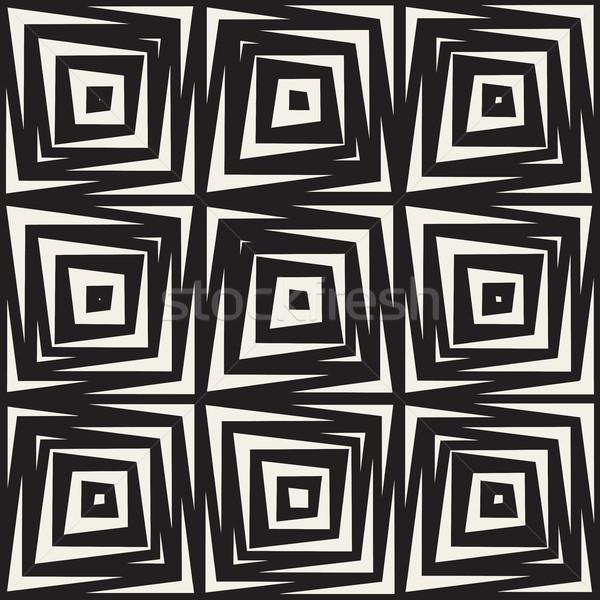 Vektor végtelenített feketefehér tér vonalak minta Stock fotó © Samolevsky
