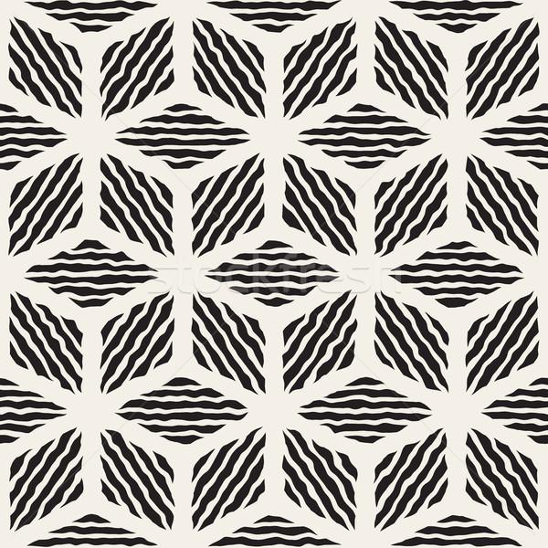 Vector Seamless Hand Painted Line Geometric Rhombus Stripes Pattern Stock photo © Samolevsky