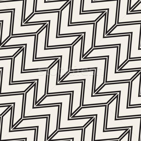 Zigzag nervioso vector sin costura blanco negro Foto stock © Samolevsky