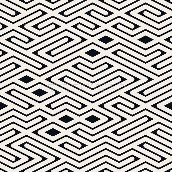 Vector Seamless Black and White Rounded Line Maze Irregular Pattern Stock photo © Samolevsky
