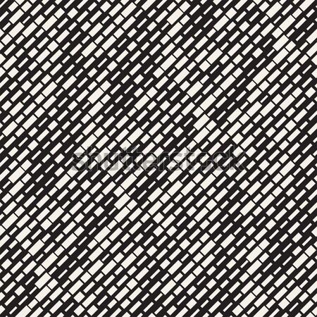 Cross Shapes Halftone Lattice. Vector Seamless Black and White Pattern. Stock photo © Samolevsky