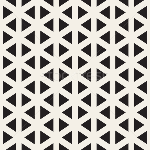 Vector Seamless Black And White Triangle Lines Grid Pattern Stock photo © Samolevsky