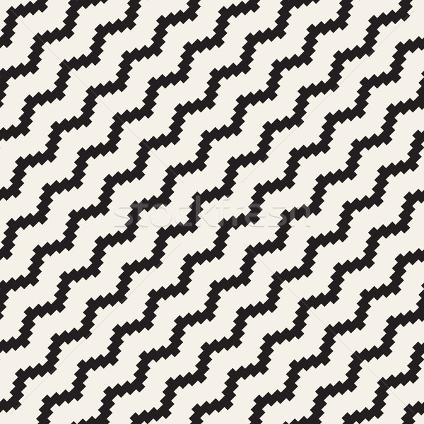 Halftone Edgy Lines Mosaic Endless Stylish Texture. Vector Seamless Black and White Pattern Stock photo © Samolevsky