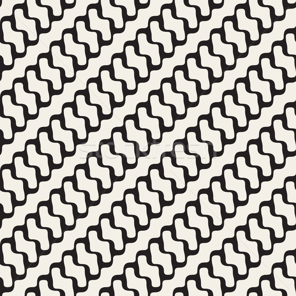 Vector Seamless Black and White Diagonal Rounded Wavy Lines Pattern Stock photo © Samolevsky