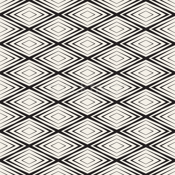 Vector Seamless Black and White Rhombus Shape Concentric Lines Geometric Pattern Stock photo © Samolevsky