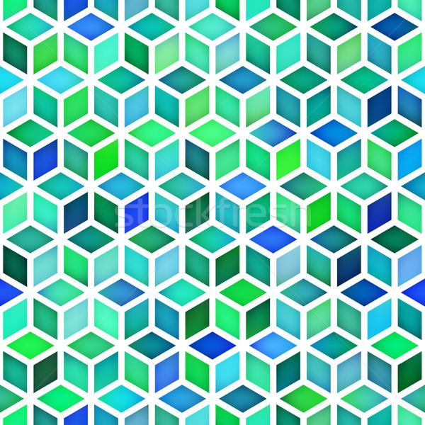 Vetor sem costura gradiente cubo grade padrão geométrico Foto stock © Samolevsky