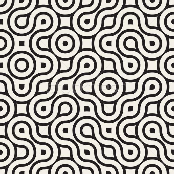 Vector Seamless Black And White Rounded Irregular Maze Lines Pattern Stock photo © Samolevsky