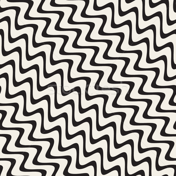Vector Seamless Hand Drawn Diagonal Wavy Lines Pattern Stock photo © Samolevsky