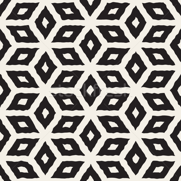 Vector Seamless Hand Painted Line Geometric Rhombus Pattern Stock photo © Samolevsky
