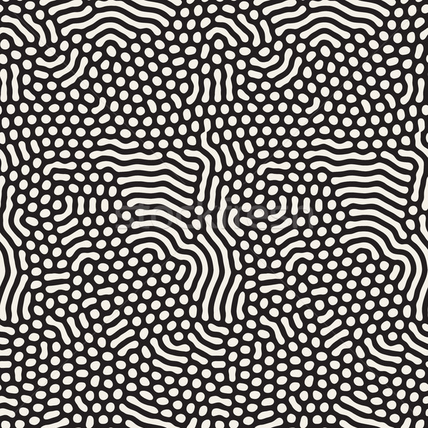 Organic Irregular Rounded Lines Vector Seamless Black and White Pattern. Stock photo © Samolevsky