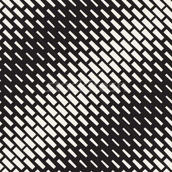 ベクトル シームレス 黒白 対角線 ハーフトーン 長方形 ストックフォト © Samolevsky