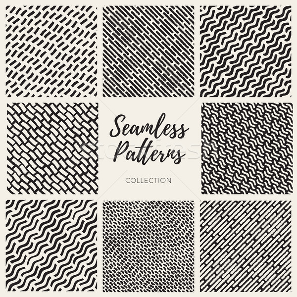 Set of Eight Vector Seamless Hand Drawn Lines Patterns Collection Stock photo © Samolevsky