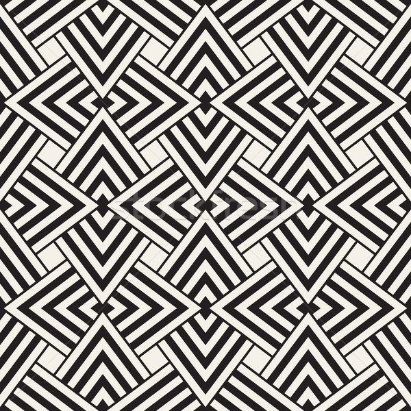 Geometric Ornament With Striped Rhombuses. Vector Seamless Monochrome Pattern Stock photo © Samolevsky